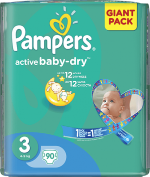 plienky PAMPERS Active Baby 3 MIDI, 90 ks