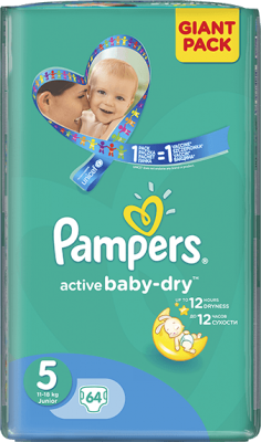 plienky PAMPERS Active Baby 5 JUNIOR, 64 ks