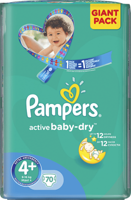plienky PAMPERS Active Baby 4+ MAXIPLUS, 70 ks