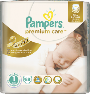 plienky PAMPERS Premium Care 1 NEWBORN, 88 ks